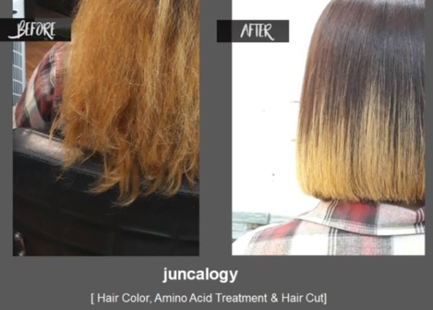 """【Dull, Frizzy hair,Over bleached】BEFORE & AFTER SAMPLE OF """"JuncaLogy""""【Hair color, Hair cut, Amino Acid Treatment】"""